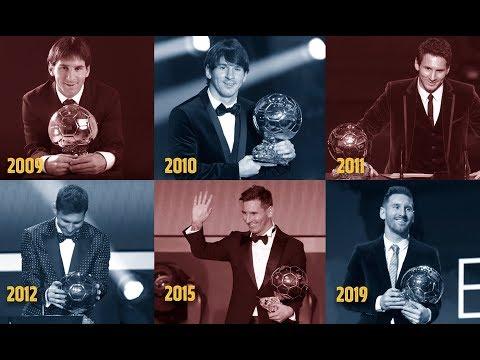 Relive Leo Messi's six Ballon d'Or triumphs