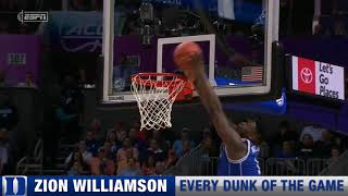 Zion Williamson Dunks from Duke vs. North Carolina March 15, 2019
