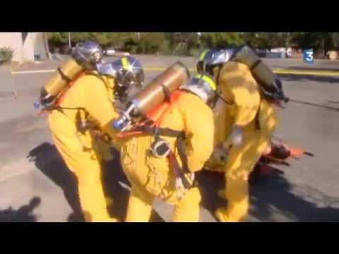 Les pompiers face à la menace chimique. Exercice à Poitiers (86)