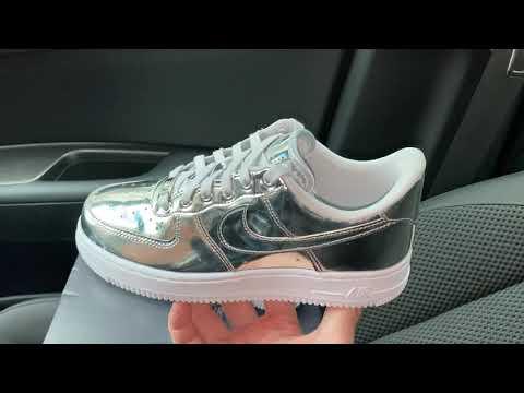 Nike Air Force 1 Chrome Liquid Metal Silver shoes