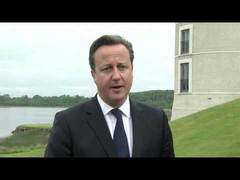Cameron - Prime Minister David Cameron speaks ahead of the G8 Summit taking place in Northern Ireland on 17 and 18 June 2013. He will meet with leaders from the USA, R...