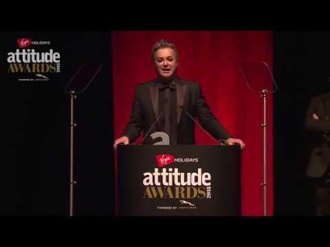 Julian Clary accepts Attitude's Comedy Award
