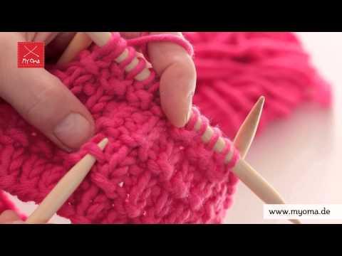Stricken lernen mit den Omas – DIY Beanie Mütze für Anfänger 5/7: Muster aus rechten, linken Maschen