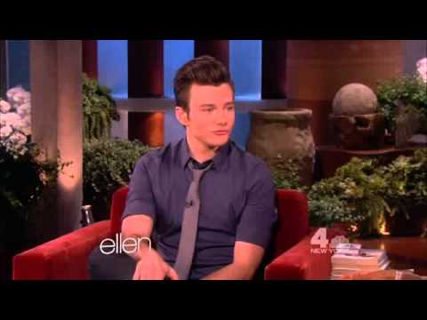 colfer - Chris Colfer talking with Ellen DeGeneres about Coachella, his cat Brian and a potential guest role as a sea-monkey in