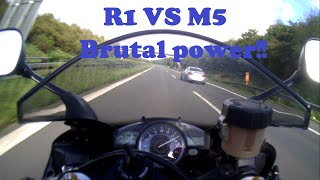 Yamaha R1 VS BMW M5 .stopped because oil light got on.better next timelike and share to keep the video alive