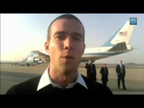Jon Favreau - November 19, 2009 | 1:35 Head Speechwriter Jon Favreau stands on the tarmac at Osan Air force Base in South Korea after the President's speech to servicemen ...