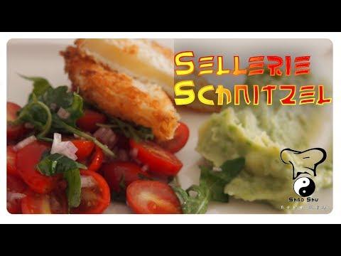 Sellerie-Schnitzel mit Tomatensalat und Kartoffel-Erbsen-Püree