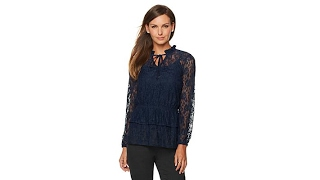 G by Giuliana Lace Blouse with Tie Neck