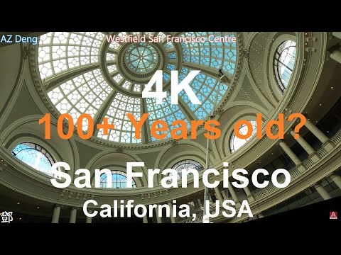 4K Walking Westfield Mall in Downtown San Francisco California USA 2020; 美國三藩 … видео