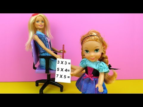 No homework ? Elsa and Anna toddlers at school - singing - Barbie is teacher - games - classroom