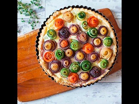 torta salata con roselline di verdure - la videoricetta