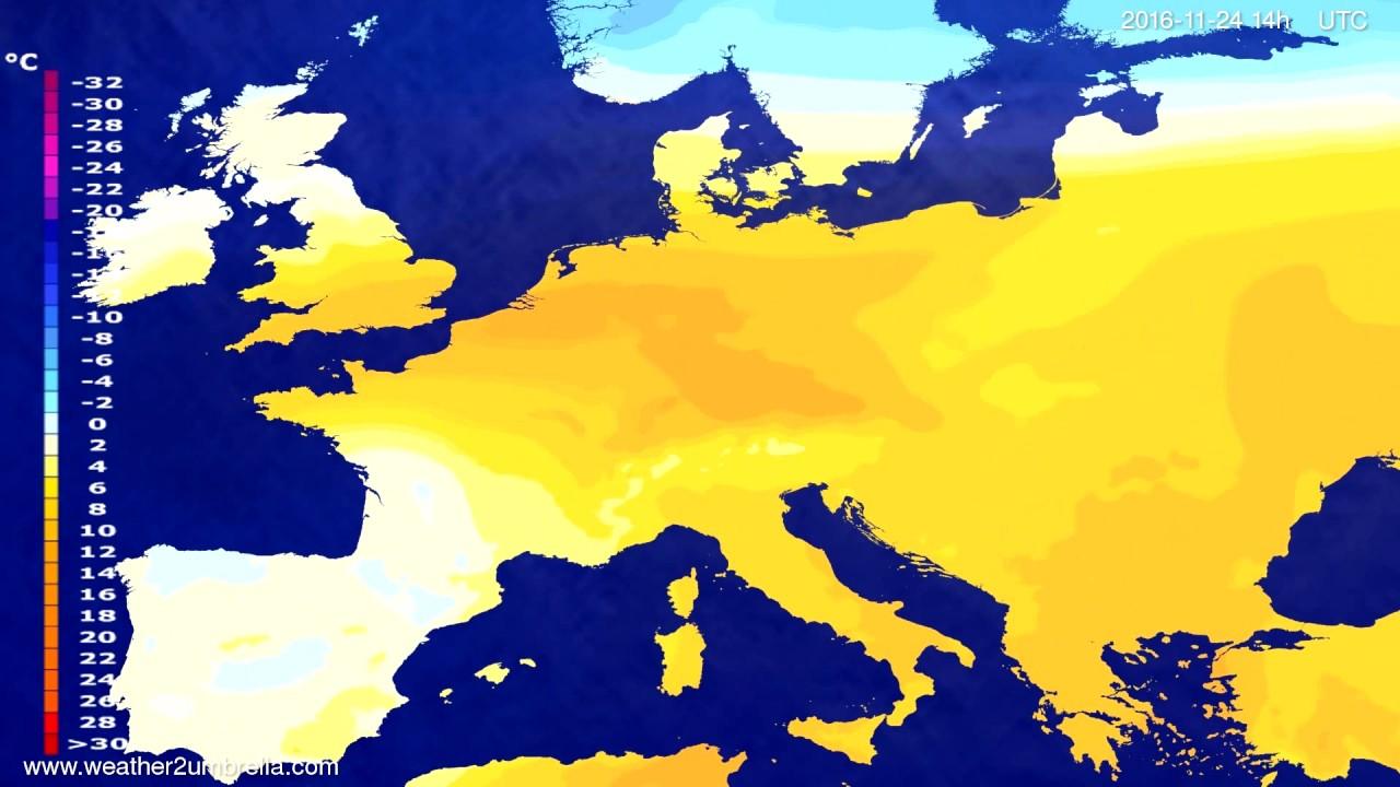 Temperature forecast Europe 2016-11-20
