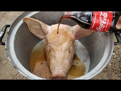 Delicious Roasted Pig Head With Coca Cola / Pig Head Cooking With Coca Cola