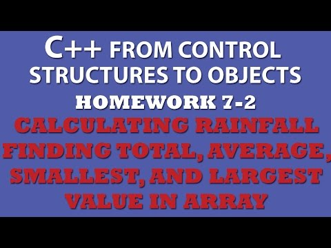 C++ 7-2 Calculating Rainfall – Total, Average, Min and Max values in Array