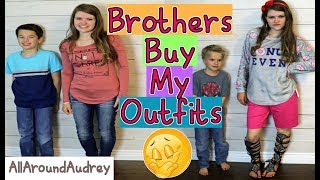 Hey guys! In today's video my brothers Jake and Ty will be going to the mall and vlogging themselves picking out an outfit for me to wear! It was very interesting and funny to see their outfits they picked for me.__Subscribe for videos every Thursday!☆http://www.youtube.com/channel/UCS0kA-D1M87dDfkWRl_DLJA?sub_confirmation=1Comment down below if you would like to see Jordan and I buy outfits for each other!♡Like this video if you enjoyed!Here are some more videos I think you might like:Operation Slime Challenge: https://www.youtube.com/watch?v=FycQVuqxORwCoke and Mentos Challenge: https://www.youtube.com/watch?v=ZZD0C2Fu-vsLip Retractor Challenge: https://www.youtube.com/watch?v=IXKf89bTx_EFast Food Fondue Challenge: https://www.youtube.com/watch?v=oUgfiExrN4URainbow Ice Bath Challenge: https://www.youtube.com/watch?v=sM8tujZbsLUNever Have I Ever: https://www.youtube.com/watch?v=n340lu1BIpYTwisted Twister:  https://www.youtube.com/watch?v=XzR_twNyxSEHungry Hungry Hippos Game Twist: https://www.youtube.com/watch?v=Z0kuKpzfh0YFamily Lip Retractor Challenge: https://www.youtube.com/watch?v=y_ridJVmS8EYou can send fanmail! AllAroundAudreyP.O. Box 6792N. Logan, Utah 84341__Follow Me On:Instagram- https://instagram.com/allaroundaudrey/Twitter- https://twitter.com/AllAroundAudreyFacebook- https://www.facebook.com/AllAroundAudrey?ref=profilePinterest- https://www.pinterest.com/allaroundaudrey/Musical.ly- AllAroundAudreyYouNow: AllAroundAudrey__♡ My Sister's Channel: https://www.youtube.com/channel/UCHOMvu3axPhTG5zLqrHynig♡ My Brothers' Channel: https://www.youtube.com/channel/UCCHmMn-aFceiyb81Z-fu-zw♡ Our Family Channel: https://www.youtube.com/channel/UCbZgDzTkBQMkPWYBFESJ3sQ♡ Check Out My Previous Video: https://www.youtube.com/watch?v=hfI64TU9wV0♡ For Business Inquiries: AllAroundAudrey99@gmail.com__Music Credits:Funky (Sting) by Twin Musicom is licensed under a Creative Commons Attribution license (https://creativecommons.org/licenses/by/4.0/)Artist: http://www.twinmusicom.org/I Like Peanuts by Audionautix is licensed under a Creative Commons Attribution license (https://creativecommons.org/licenses/by/4.0/)Artist: http://audionautix.com/Yeah Yeah by Audionautix is licensed under a Creative Commons Attribution license (https://creativecommons.org/licenses/by/4.0/)Artist: http://audionautix.com/__Thanks for Watching!XOXO,Audrey