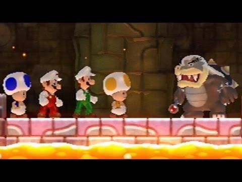 New Super Mario Bros Wii - All Bosses (4 Players) (видео)