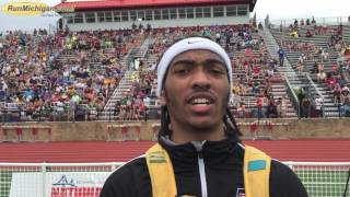 http://www.runmichigan.com - RunMichigan.com talks with Khance Meyers, East Kentwood, Boys 100M and 200M 2017 MHSAA TF LP D1 Champion held at East Kentwood High School in Kentwood, Michigan on June 3, 2017. Khance runs 10.53 (New L.P. Division 1 Record)