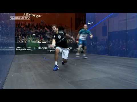 Squash tips: Karim Gawad using the volley to attack