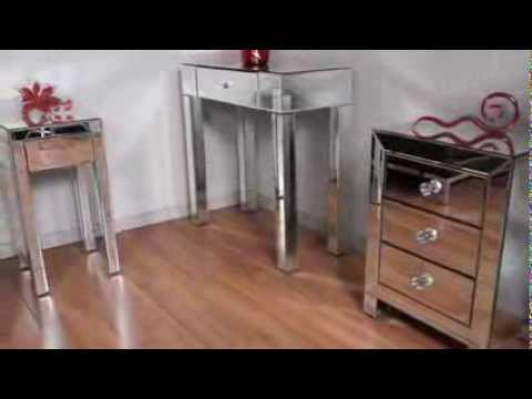 Video for Reflections Silver Mirrored Three-Drawer Accent Table