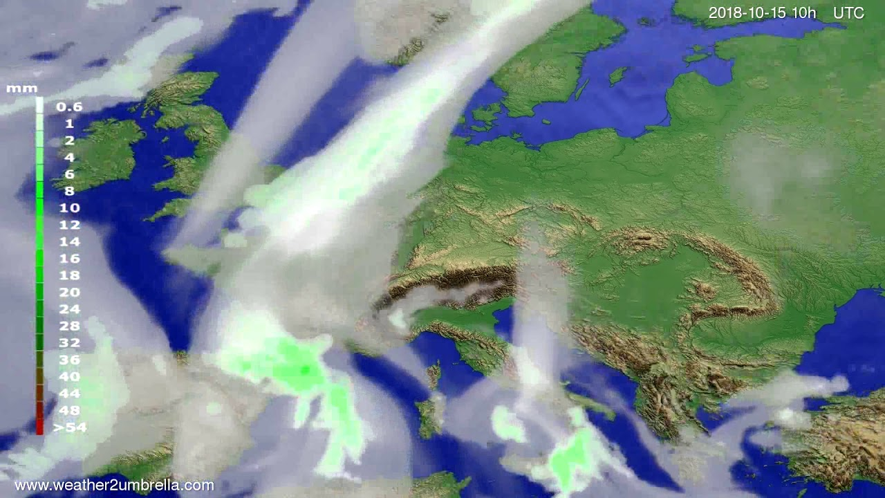 Precipitation forecast Europe 2018-10-13