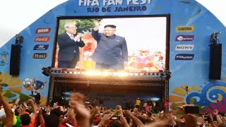 North Korea wins the group stage and will play with Portugal (playoff) in the FIFA World Cup in Brazil 격전의 경기에서 흰색 유니폼...