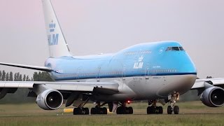 Time Lapse KLM B747 taxies to the runway in time lapse departure on normal speed. And in the sky time lapse till out of sight.I hope you  liked the video if so do not forget to share comment and give a click on the thumb up button.Yours, Schipholhotspot/17splinterhttps://www.planespotters.net/airframe/Boeing/747/23999/PH-BFA-KLM-Royal-Dutch-AirlinesPH-BFA KLM Royal Dutch Airlines Boeing 747-406 - cn 23999 / 725Airframe DetailsConstruction Number (MSN) 23999Line Number 725Aircraft Type Boeing 747-406First Flight 15. Apr 1989Age 27.5 YearsTest registration N6018NProduction Site  Everett (PAE)Airframe Status Active