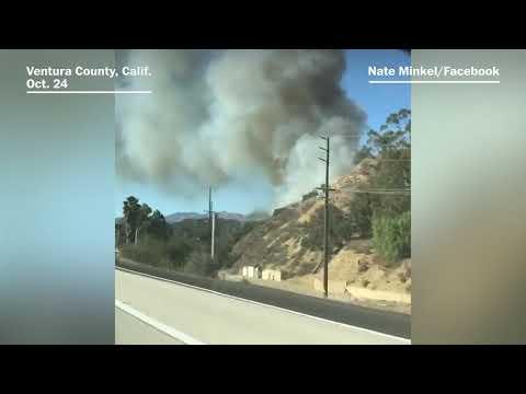 Wildfires blaze through parts of Ventura County, Calif.