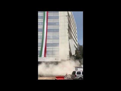 العرب اليوم - شاهد: لحظة سقوط بناية في زلزال مكسيكو