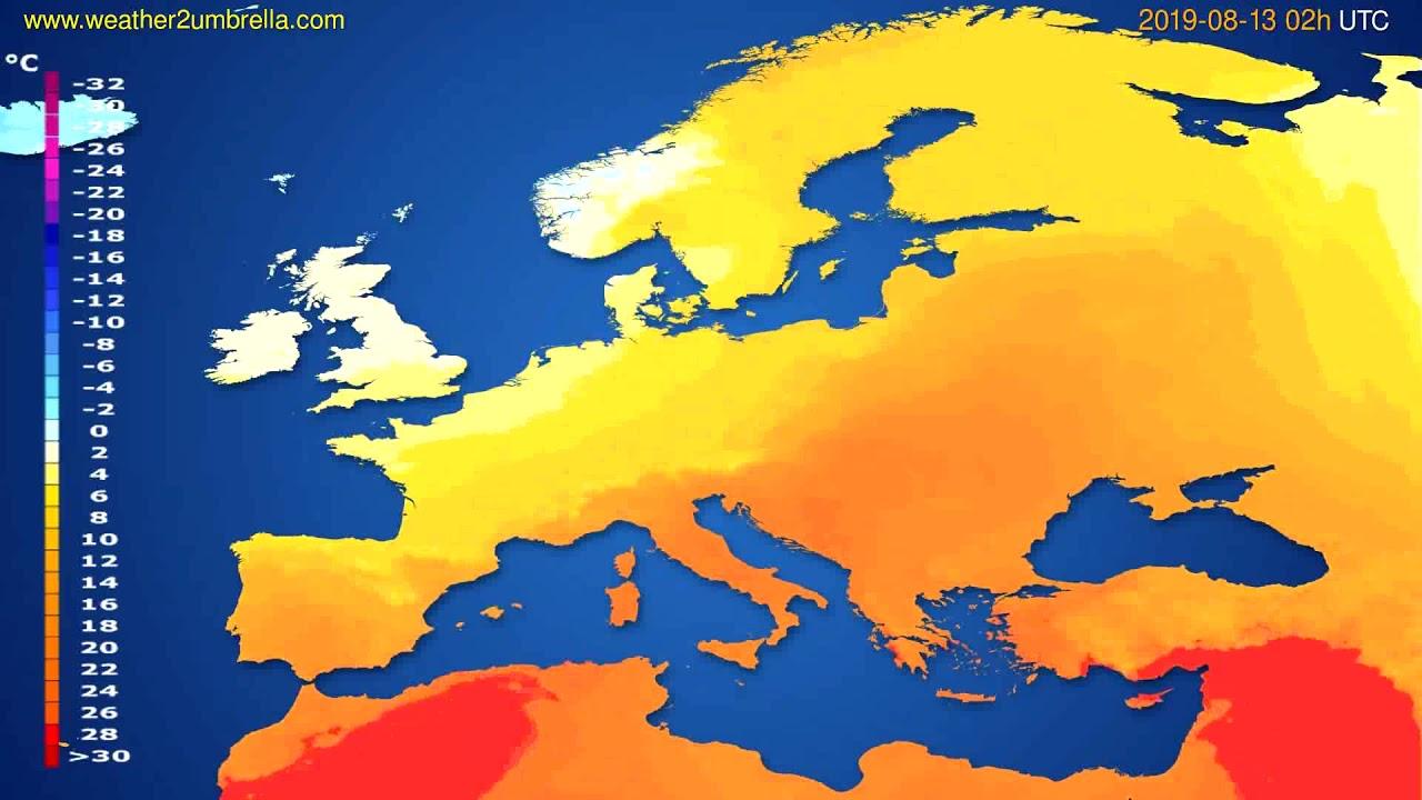 Temperature forecast Europe // modelrun: 12h UTC 2019-08-10