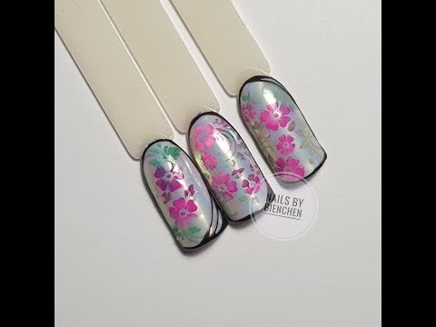 Nageldesign - Mit den Watercolors stempeln Variante 1