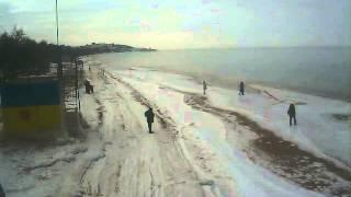Пляж в Щёлкино, 08.02.2014 - time-lapse с камеры 1