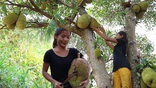 Catch fish meet natural jackfruit for food - Natural jackfruit fruit eating delicious #19