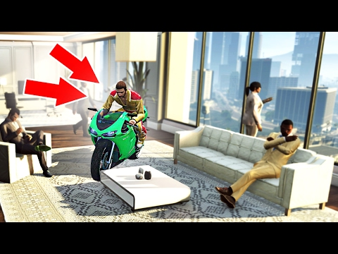 DRIVING INSIDE OFFICE BUILDINGS! (GTA 5 Funny Moments) (видео)