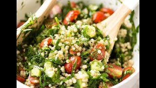 A fabulous Mediterranean style salad made with Israeli Couscous, also known as Pearl or Gourmet Couscous. http://www.recipetineats.com/israeli-couscous-salad/