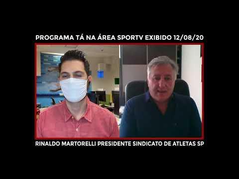 """Presidente do Sindicato de Atletas SP no programa """"Tá na Área"""", do SporTV."""