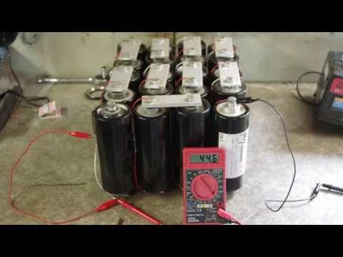 supercapacitor - Discharging a bank of 20 supercaps in series through various things.