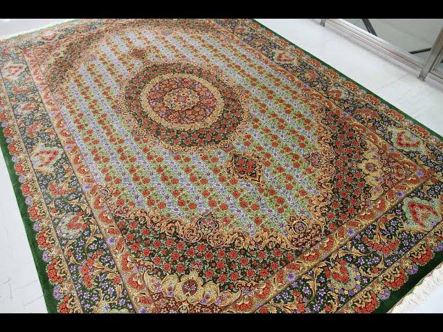 ペルシャ絨毯クム、シルク玄関マット120x80、by ariya gallery