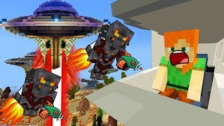 HOW EARTH ESCAPE ALIEN ATTACK - MINECRAFT STEVE AND BABY ZOMBIE [22]