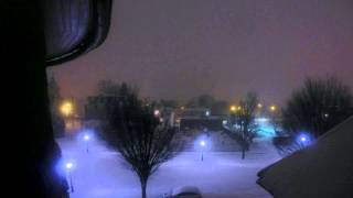 "I started this video later because I missed the start of the storm. We got around 10"" and some ice all together, in this video I probably captured us getting about 5""-8"" of snow! Sorry its so short but the camera died out on me! Next storm hopefully Ill capture it all! : )"