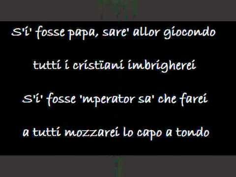 , title : 'S'i fosse foco (testo) - Fabrizio de André'