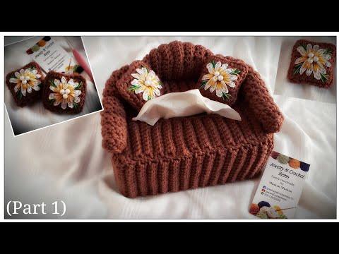 Crochet Sofa TISSUE Box Cover Tutorial( Part 1)