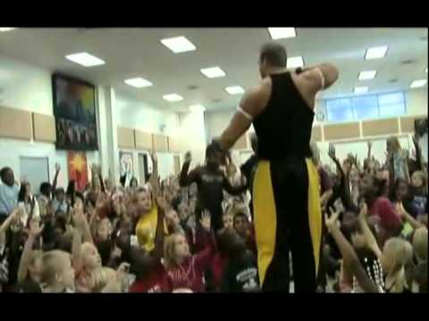 Omega Man in School Assembly on Anti-Bullying