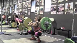 Danielle clean & jerk, Mary snatch push press, Blake back squat, Audra power clean + jerk, Aimee block power clean, Brian power clean + power jerk, Mary RDL, Tate power clea