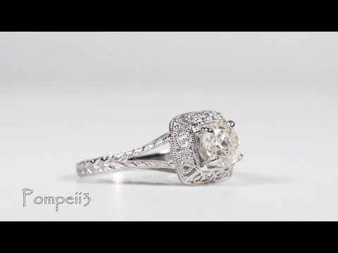 Vintage Cushion Halo Solitaire Diamond Engagement Ring 14k White Gold by Pompeii3