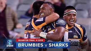 Brumbies v Sharks 2019 Super rugby quarter-final video highlights | Super Rugby Video Highlights