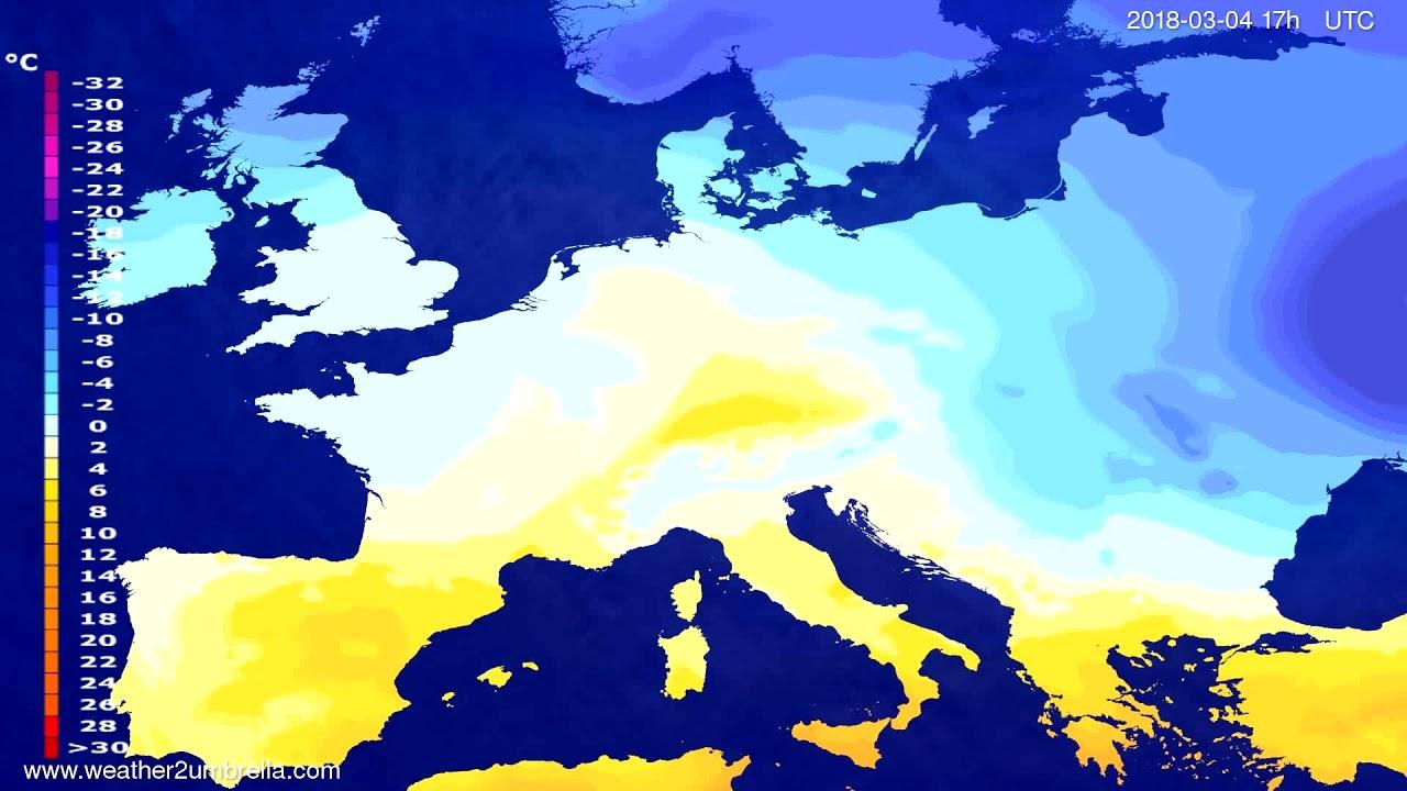Temperature forecast Europe 2018-03-02