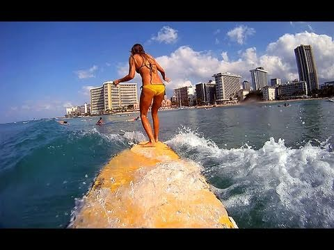 GoPro and Daize Girl surf Waikiki Hawaii