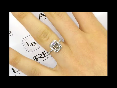 1.59 ct Emerald Cut Diamond Engagement Ring in Micropave Halo
