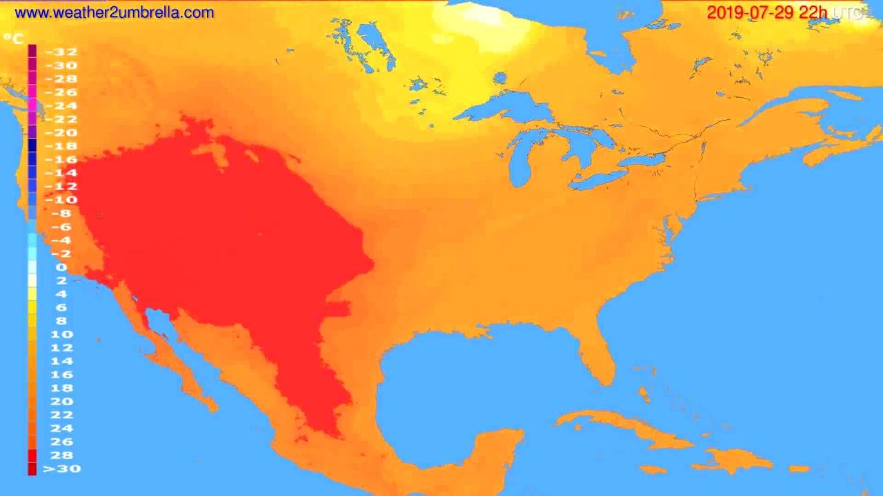 Temperature forecast USA & Canada // modelrun: 00h UTC 2019-07-27