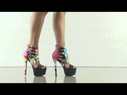multiple heels and shoes - To purchase please visit: http://www.heels.com/womens-shoes/xpress-multi.html Get extra sassy in the Xpress. This show stopping style by Privileged features a glossy upper with magazine print,...
